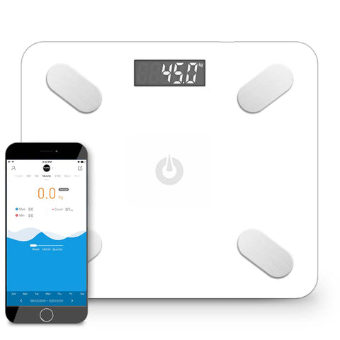 SOGA Wireless Bluetooth Digital Body Fat Scale Bathroom Health Analyzer Weight White