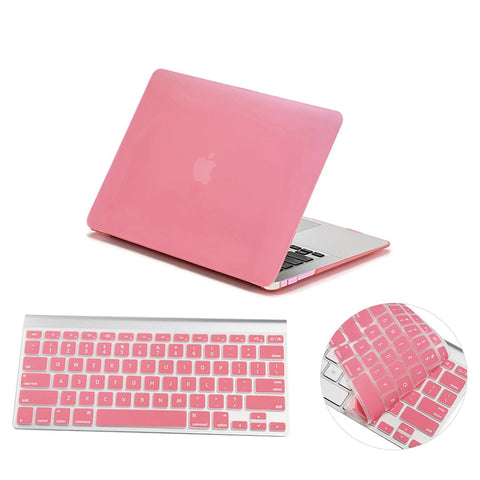 Crystal Hardshell Case + Keyboard cover for Apple Macbook Pink