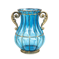 SOGA Blue Colored European Glass Home Decor Flower Vase with Two Metal Handle