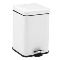 SOGA Foot Pedal Stainless Steel Rubbish Recycling Garbage Waste Trash Bin Square 12L White
