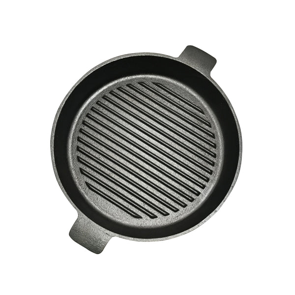 SOGA 25cm Round Ribbed Cast Iron Frying Pan Skillet Non-stick Steak Sizzle Platter with Handle