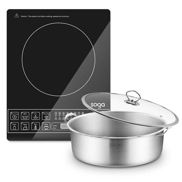 SOGA Electric Smart Induction Cooktop and 30cm Stainless Steel Induction Casserole Cookware