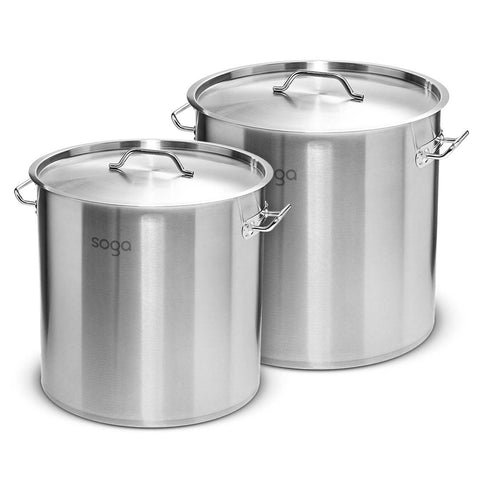 SOGA Stock Pot 21L 50L Top Grade Thick Stainless Steel Stockpot 18/10