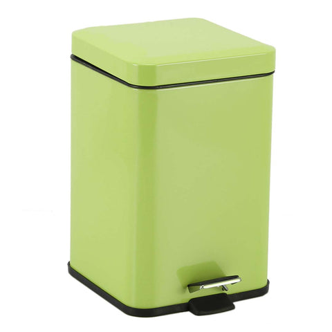 Foot Pedal Stainless Steel Rubbish Recycling Garbage Waste Trash Bin Square 6L Green
