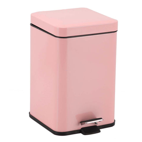Foot Pedal Stainless Steel Rubbish Recycling Garbage Waste Trash Bin Square 12L Pink