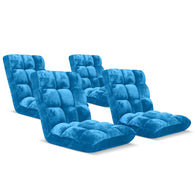 SOGA Floor Recliner Folding Lounge Sofa Futon Couch Folding Chair Cushion Blue x4