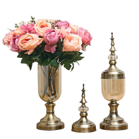 SOGA 2 x Clear Glass Flower Vase with Lid and Pink Flower Filler Vase Bronze Set