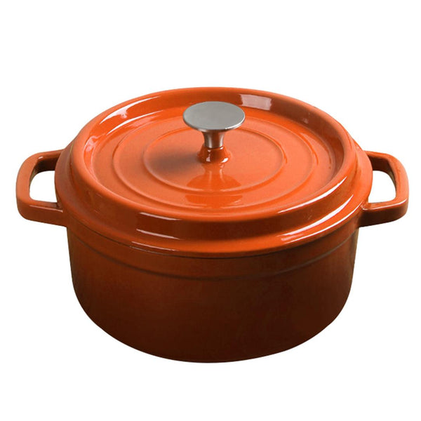 SOGA Cast Iron Enamel Porcelain Stewpot Casserole Stew Cooking Pot With Lid 3.6L Orange 24cm