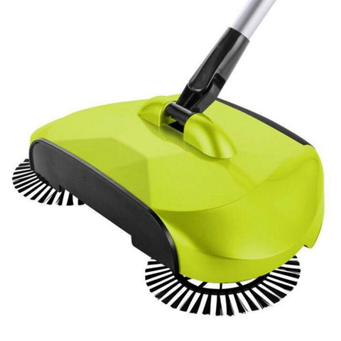 Auto Household Spin Hand Push Sweeper Home Broom Room Floor Dust Cleaner Mop Green