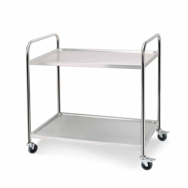 SOGA 2 Tier Stainless Steel Kitchen Dining Food Cart Trolley Utility Round 81x46x85cm Small