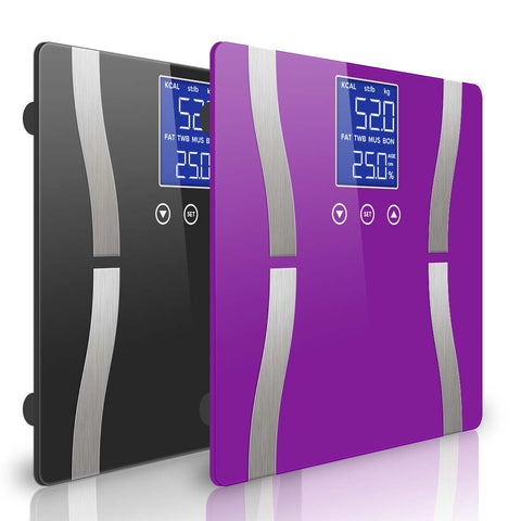 SOGA 2 x Digital Body Fat Scale Bathroom Scale Weight Gym Glass Water LCD Black/Purple
