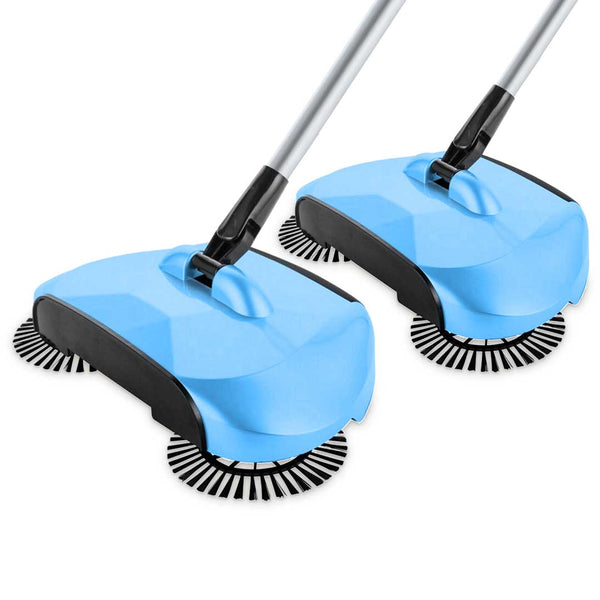 SOGA 2x Hand Push Sweeper Broom Lazy Auto Spin Household Cleaning No Electricity Blue