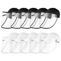 10X Outdoor Protection Hat Anti-Fog Pollution Dust Saliva Protective Cap Full Face HD Shield Cover Adult Black/White