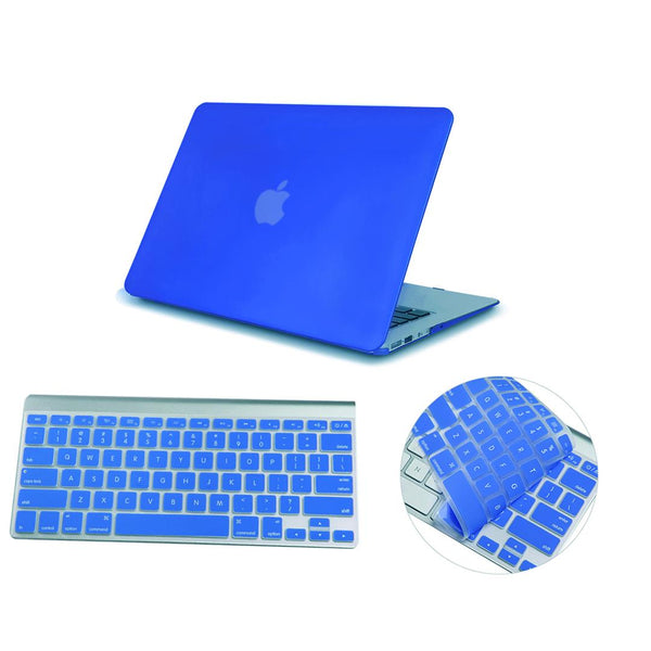 Matte Hardshell Case + Keyboard cover for Apple Macbook Blue