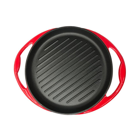 Enamel porcelain Cast Iron Frying Pan Skillet Non-stick Coating Steak Sizzle Platter 26cm