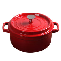 SOGA Cast Iron Enamel Porcelain Stewpot Casserole Stew Cooking Pot With Lid 5L Red 26cm
