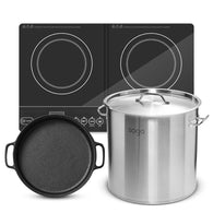 SOGA Dual Burners Cooktop Stove 30cm Cast Iron Skillet and 21L Stainless Steel Stockpot 30cm