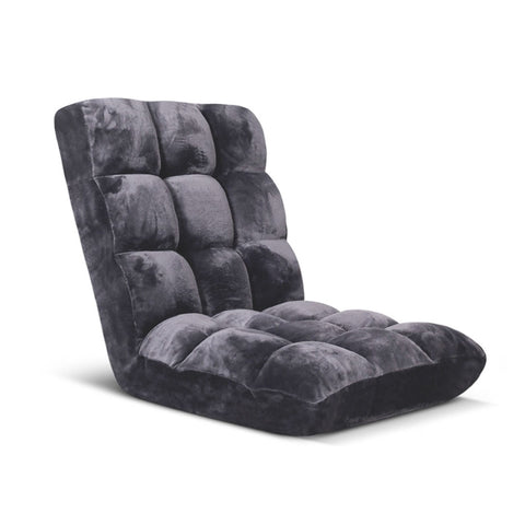 SOGA Floor Recliner Folding Lounge Sofa Futon Couch Folding Chair Cushion Grey