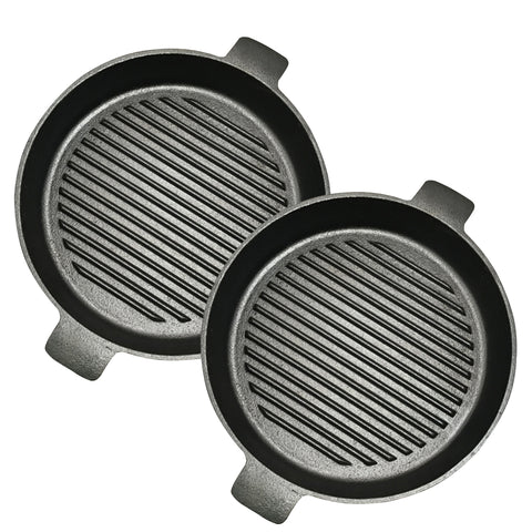 SOGA 2X 25cm Round Ribbed Cast Iron Frying Pan Skillet Steak Sizzle Platter with Handle