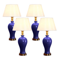 SOGA 4X Blue Ceramic Oval Table Lamp with Gold Metal Base