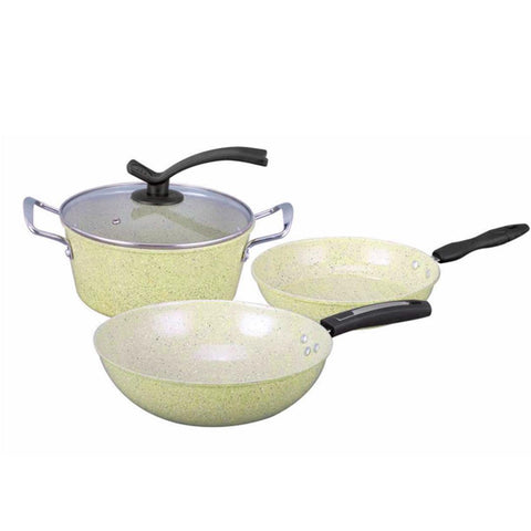 SOGA Ceramic Stone Coated Yellow 4pcs Pot & Pan Set - Cookware Induction Non Stick