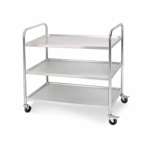 SOGA 3 Tier Stainless Steel Kitchen Dinning Food Cart Trolley Utility Round 81x46x85cm Small