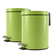 2X Foot Pedal Stainless Steel Rubbish Recycling Garbage Waste Trash Bin Round 7L Green