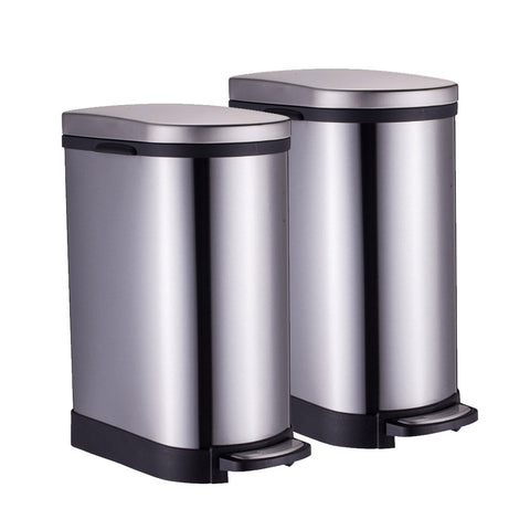 SOGA 2X Foot Pedal Stainless Steel Rubbish Recycling Garbage Waste Trash Bin 10L U