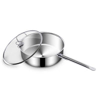 SOGA 32cm Stainless Steel Saucepan With Lid Induction Cookware With Triple Ply Base