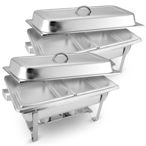 SOGA 2X Stainless Steel Chafing Food Warmer Catering Dish 2x4.5L Dual Trays