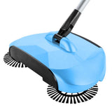 Auto Household Spin Hand Push Sweeper Home Broom Room Floor Dust Cleaner Mop Blue