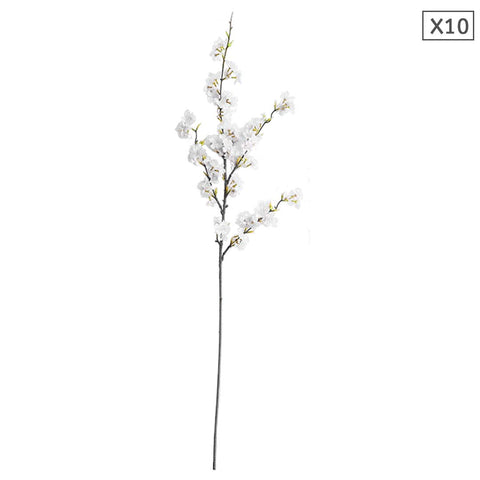 SOGA 10x Artificial Silk Flower Fake Cherry Blossom Bouquet Table Decor White