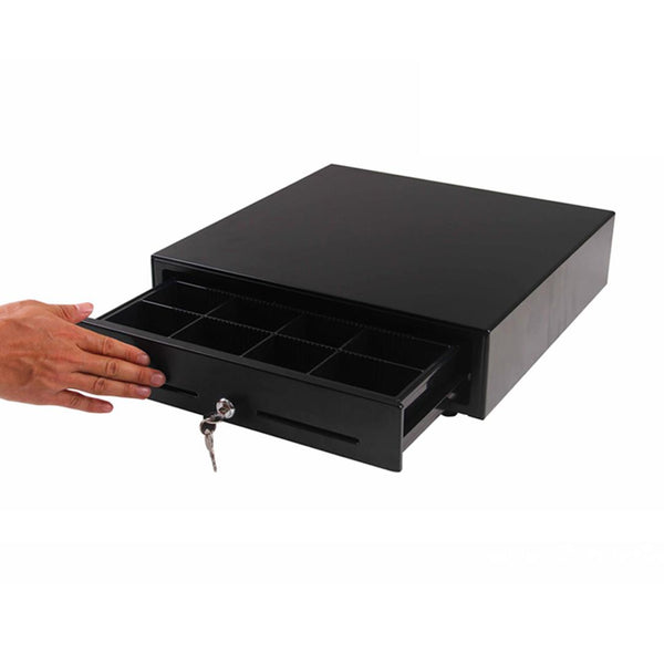 SOGA Black Heavy Duty Cash Drawer Manual 4 Bills 8 Coins Cheque Slot Tray Pos 410