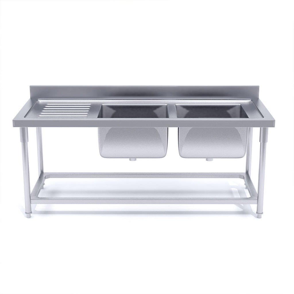 Soga Stainless Steel Work Bench Right Dual Sink Commercial