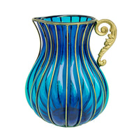 SOGA Blue European Colored Glass Home Decor Jar Flower Vase with Metal Handle