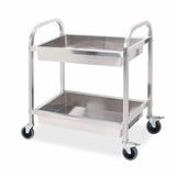 SOGA 2 Tier Stainless Steel Kitchen Trolley Bowl Collect Service Food Cart 85x45x90cm Medium