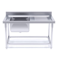 SOGA Stainless Steel Work Bench Sink Commercial Restaurant Kitchen Food Prep 140*70*85cm