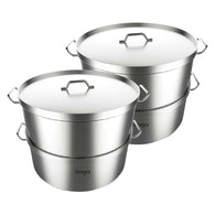SOGA 2X Commercial 304 Stainless Steel Steamer With 2 Tiers Top Food Grade 32*22cm