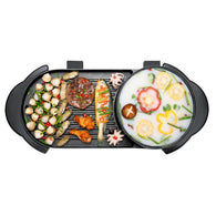 SOGA 2 in 1 Electric Non-Stick BBQ Teppanyaki Grill Plate Steamboat Hotpot 2-8 Person