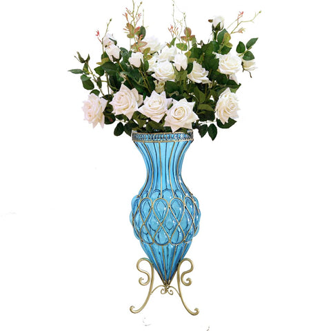 SOGA 67cm Blue Glass Tall Floor Vase and 12pcs White Artificial Fake Flower Set