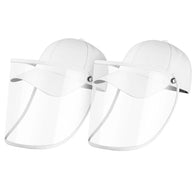 2X Outdoor Protection Hat Anti-Fog Pollution Dust Saliva Protective Cap Full Face HD Shield Cover Adult White