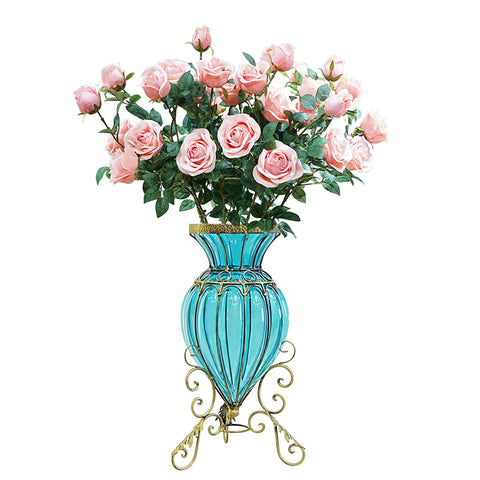 SOGA Blue Colored Glass Floor Flower Vase 8 Bunch 5 Heads Artificial Fake Silk Rose Home Decor Set
