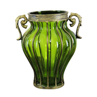 SOGA Green Colored European Glass Home Decor Flower Vase with Two Metal Handle