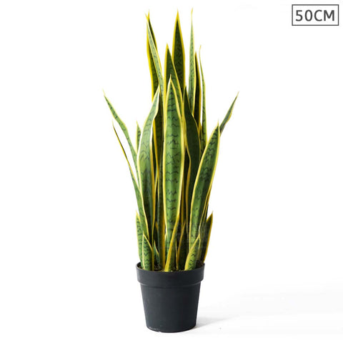 SOGA 50cm Artificial Indoor Yellow Edge Tiger Piran Fake Decoration Tree Flower Pot Plant