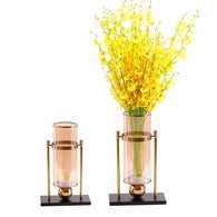 SOGA 40cm Transparent Glass Flower Vase w/ Yellow Flower and 32cm w/ Candle Set