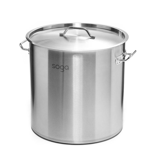 SOGA Stock Pot 33Lt Top Grade Thick Stainless Steel Stockpot 35CM 18/10