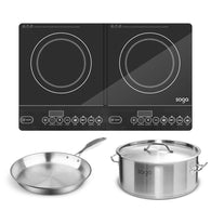 SOGA Dual Burners Cooktop Stove 17L Stainless Steel Stockpot 28cm and 30cm Induction Fry Pan