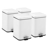 SOGA 4X Foot Pedal Stainless Steel Rubbish Recycling Garbage Waste Trash Bin Square 12L White