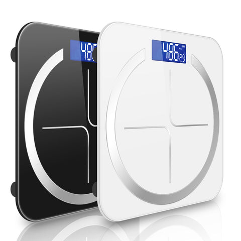 SOGA 2X 180kg Digital Fitness Weight Bathroom Body Glass LCD Electronic Scales Black/White