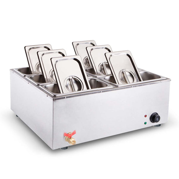 SOGA Stainless Steel 6 X 1/3 GN Pan Electric Bain-Marie Food Warmer with Lid